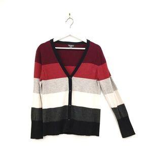 Eddie Bauer Red Grey Striped Button Cardigan Sz M